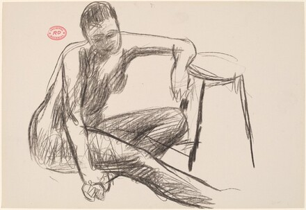 Untitled [seated female nude resting her left arm on a stool]