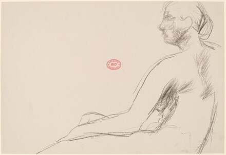 Untitled [profile of a seated female nude]