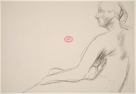 Untitled [profile of a seated female nude]