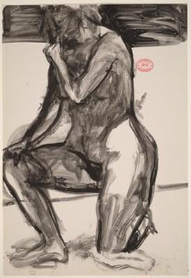 Untitled [kneeling nude holding her right shoulder]