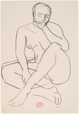 untitled [seated female nude with left hand to mouth]