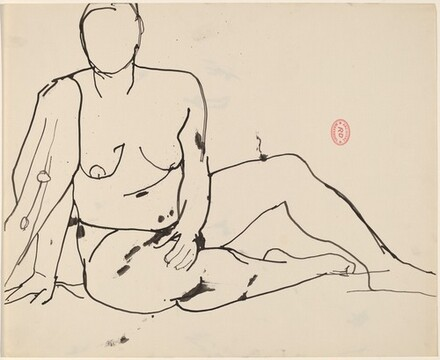 untitled [seated nude with her right shoulder draped]