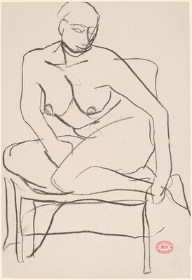 Untitled [female nude with legs drawn into chair]
