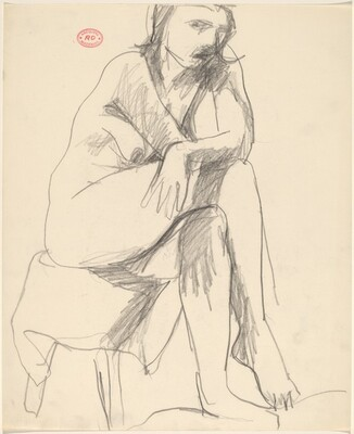 Untitled [seated female nude with crossed legs on draped stool]