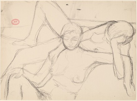 Untitled [seated female nude locking arms with a reclining one]