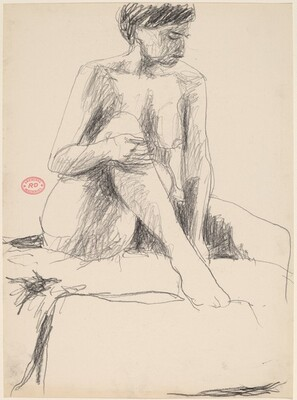 Untitled [seated nude holding her right leg with both hands]