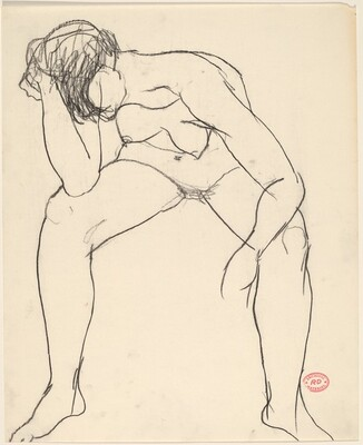 Untitled [seated female nude slumping with head in hand]