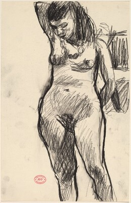 Untitled [standing nude looking down with right arm behind her head]