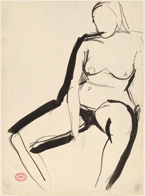 Untitled [seated nude with her right arm resting between her thighs]