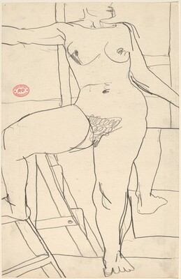 Untitled [standing female nude stepping on ladder]
