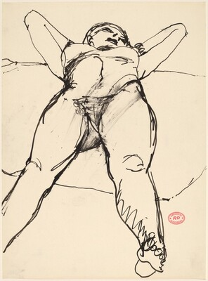 Untitled [nude lying back with hands behind her head]