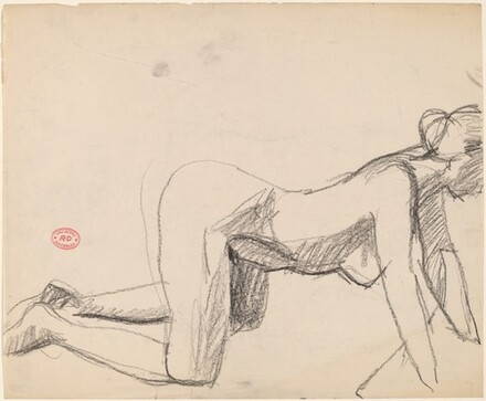 Untitled [side view of a nude on her hands and knees]
