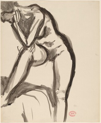 Untitled [standing female nude leaning elbow on knee]