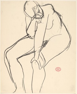 Untitled [seated nude rubbing her eye]