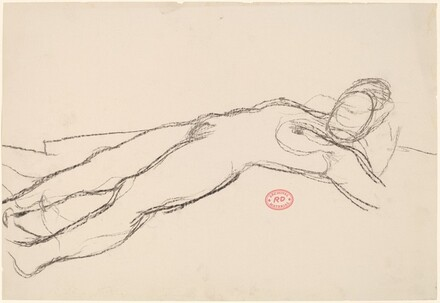 Untitled [reclining female nude with head on pillow]