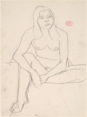 Untitled [seated female nude with clasped hands] [recto/verso]