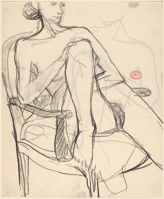 Untitled [nude in an armchair with one foot resting on the seat] [recto]