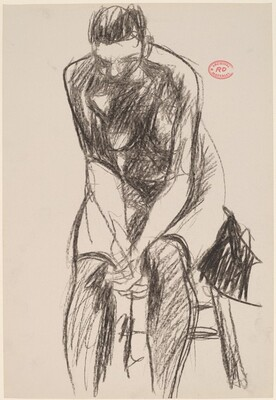 Untitled [female nude in stockings leaning forward on a stool]