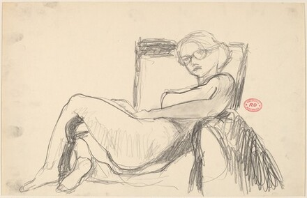 Untitled [reclining female nude with glasses]