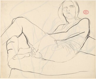 Untitled [reclining woman with crossed legs] [recto]