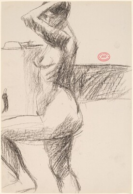 Untitled [side view of a nude raising her left arm and leg]
