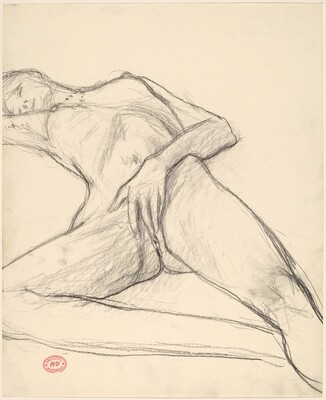 Untitled [reclining nude with her hand covering her pubis]