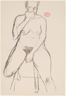 Untitled [female nude seated on a stool drinking]