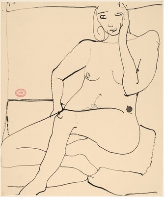 Untitled [seated nude holding her head with her left hand]