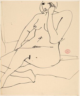 Untitled [seated nude covering her left cheek]