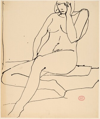 Untitled [seated nude touching her left temple]