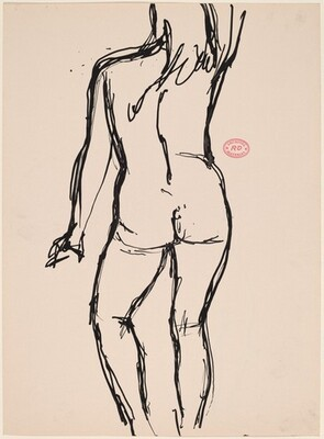 Untitled [back view of standing female nude with right arm raised]