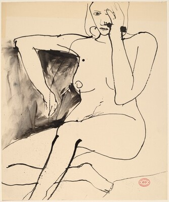 Untitled [seated nude covering the side of her face with her hand]