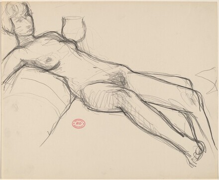 Untitled [female nude reclining on sofa]