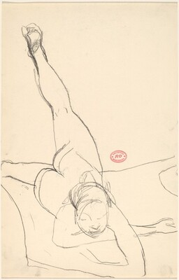 Untitled [female nude with belly on floor and left leg raised]