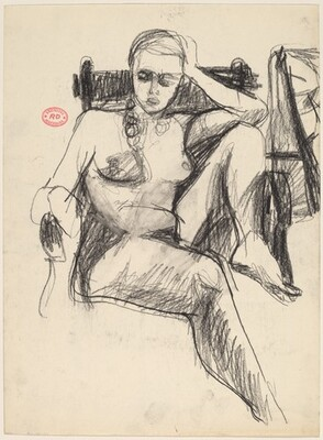 Untitled [female nude with left leg pulled into armchair]