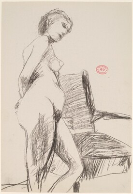 Untitled [side view of female nude leaning on an armchair]