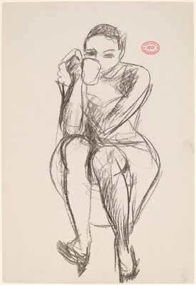 Untitled [seated woman with cup to mouth]