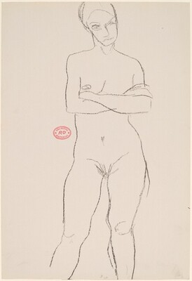 Untitled [front view of female nude standing with crossed arms]