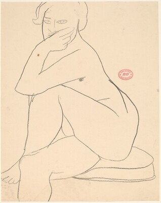 Untitled [seated nude with crossed legs resting her arm on her knee]