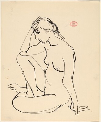 Untitled  [seated nude with right hand to her forehead]