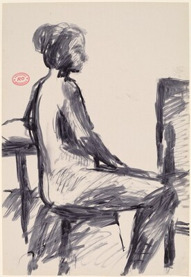 Untitled [side view of female nude seated on a stool]