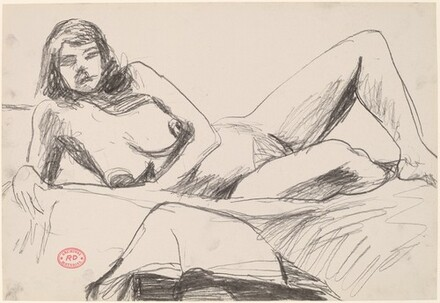 Untitled [female nude resting on a bed]