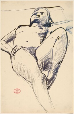 Untitled [reclining nude lying back with her left hand behind her head]