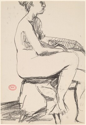 Untitled [side view of a seated female nude]