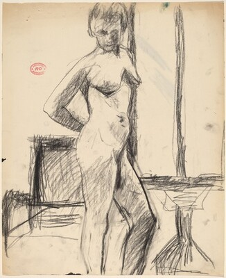 Untitled [female nude standing in the studio]