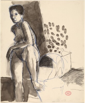 Untitled [standing nude with her left foot on a chair seat]