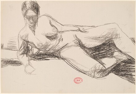 Untitled [reclining nude leaning on her right arm]