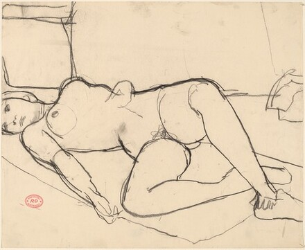 Untitled [reclining female nude in slippers]