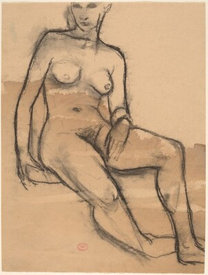 Untitled [seated nude with right foot turned under]