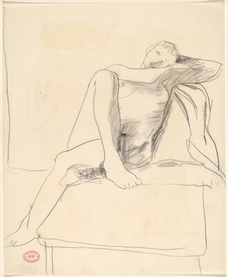 Untitled [female nude seated cross-legged on a stand]